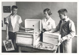 Students with record player : Campus School