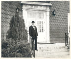 Q.M. Smith in front of Smith Hall