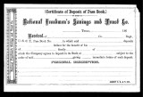 Certificate of Deposit of Pass Book