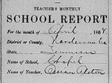 Chapel School: Teacher's monthly report, April 1868