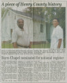Barrs Chapel CME church: newspaper article