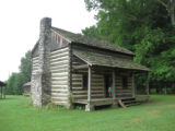 Red Clay State Historic Park: replica farmhouse with exterior chimney