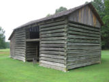 Red Clay State Historic Park: replica barn with shake roof