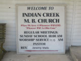 Indian Creek Missionary Baptist Church: sign