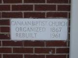 Canaan Baptist Church: dedication plaque