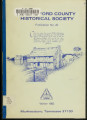 Rutherford County Historical Society publication no. 20: a history of the roads of Rutherford...