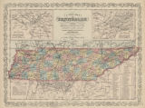 A New Map of Tennessee with Its Roads and Distances